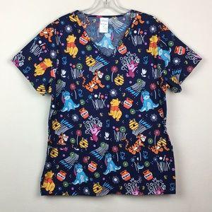 NWOT Disney Winnie the Pooh scrub top navy blue